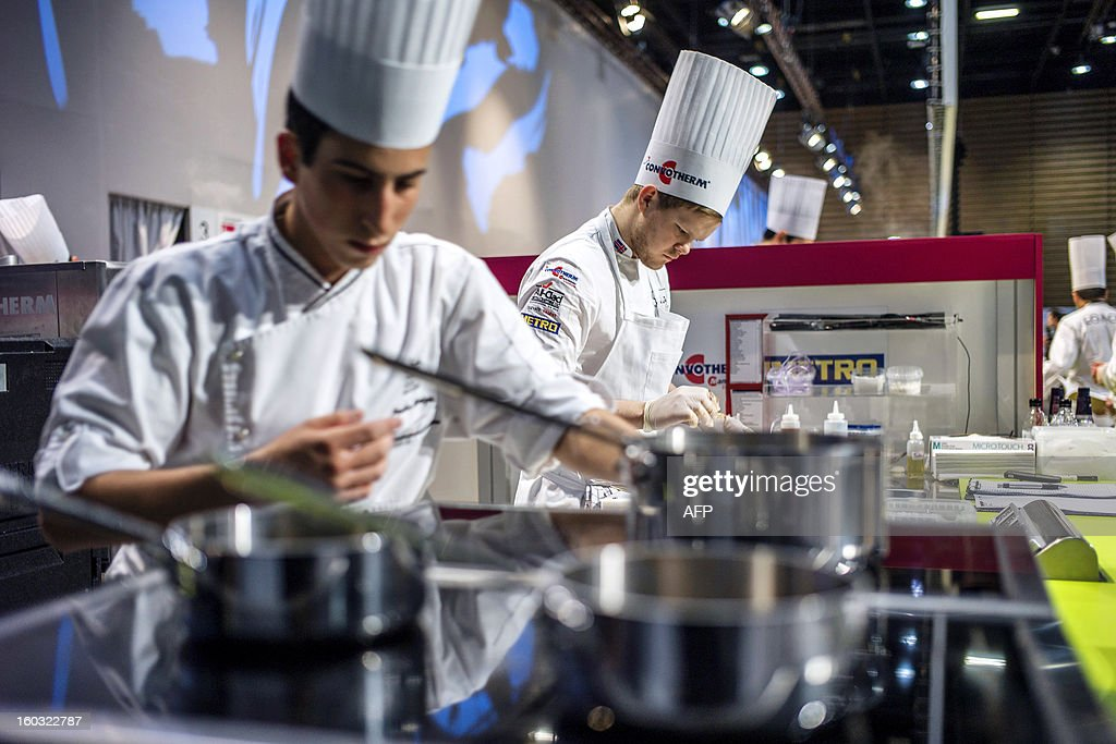 Sigurdur Haraldsson of Iceland competes in the 14th world final of the international culinary competition of the Bocuse d'Or (Golden Bocuse), on January 29, 2013 in Chassieu, central eastern France. AFP PHOTO / JEFF PACHOUD