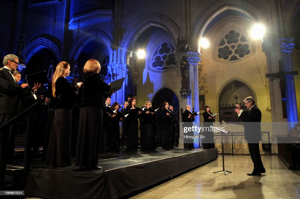 Sigvards Klava leading the Latvian Radio Choir at the Church of St. Mary the Virgin as part of Lincoln Center's White Light Festival on Friday night, November 16, 2012.