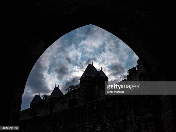 Sihouettes of the medieval city on a stormy day