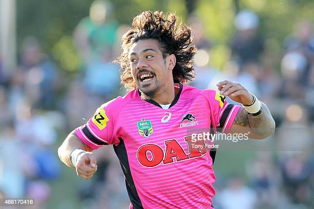 Sika Manu of the Panthers celebrates a try during the round two NRL match between the Penrith Panthers and the Gold Coast Titans at Carrington Park...