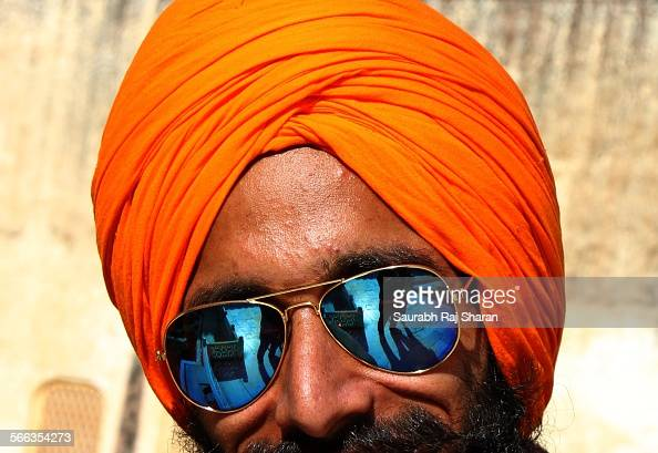 A Sikh man with shiny sunglasses in Jaipur