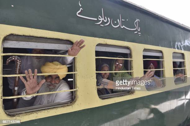 Sikh pilgrims before leaving for Pakistan on special train at Attari Railway Station on April 12 2017 near Amritsar India A Sikh Jatha of about 2000...