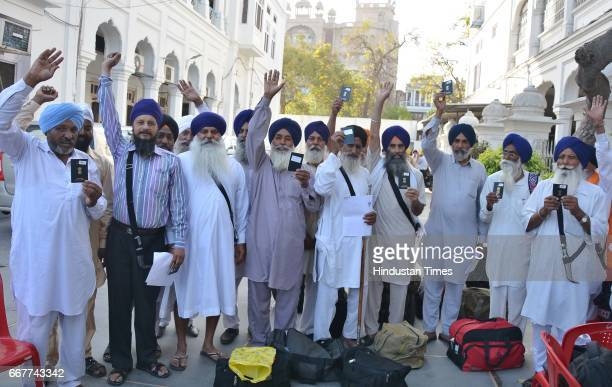 Sikh pilgrims before leaving for Pakistan on special train at Teja Singh Samundri Hall on April 12 2017 near Amritsar India A Sikh Jatha of about...