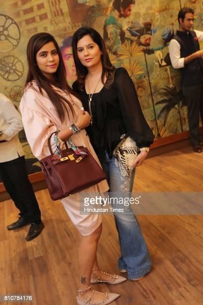 Sikha Begwani and Shweta Sud during the private screening of the movie 'Mom' at politician Amar Singh's Chattarpur home on July 6 2017 in New Delhi...