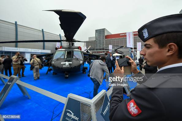 Sikorsky UH60 Black Hawk displayed during the XXIV International Defence Industry Exhibition on September 06 2016 at Targi Kielce in Kielce Poland...