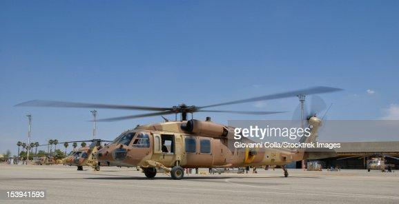 A Sikorsky UH-60 Black Hawk Yanshuf of the Israeli Air Force parked at Hatzerim Air Base, Israel.
