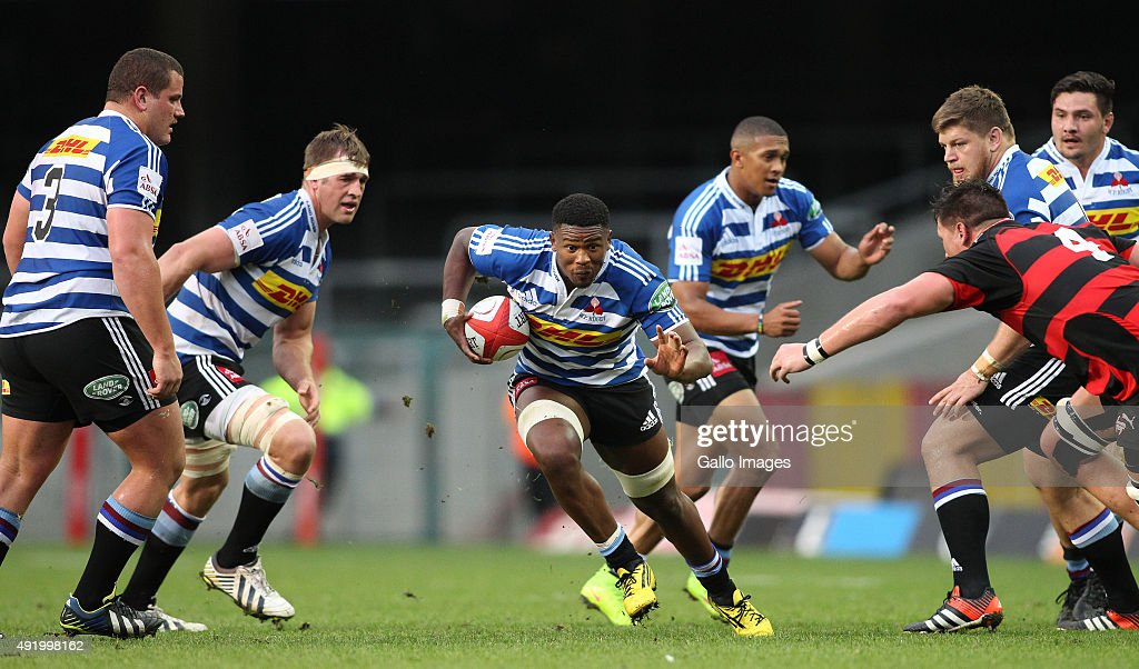 Sikumbuzo Notshe of Western Province breaks through the gap during the Absa Currie Cup match between DHL Western Province and Eastern Province Kings...