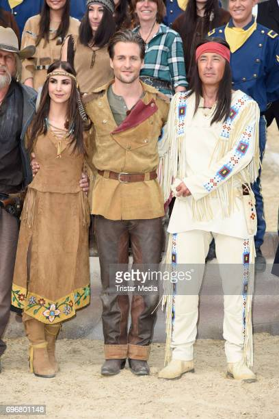 Sila Sahin Alexander Klaws and Jan Sosniok attend the Karl May play 'Old Surehand' press rehearsal on June 16 2017 in Bad Segeberg Germany