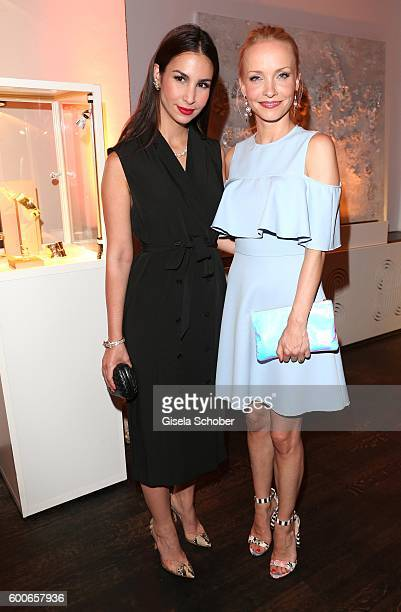 Sila Sahin and Janin Ullmann former Reinhardt wearing jewelry by Cadenzza during the 'Casha for Cadenzza' jewelry collection launch event at...