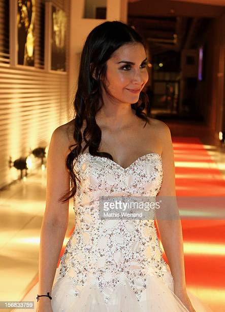 Sila Sahin attends the 'RTL Spendenmarathon' to auction off the original dress from their wedding in the RTL show 'GZSZ' At RTL Studio Huerth on...