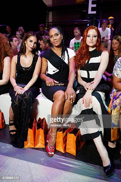 Sila Sahin Barbara Becker and Barbara Meier attend the Breuninger show during Platform Fashion July 2016 at Areal Boehler on July 22 2016 in...