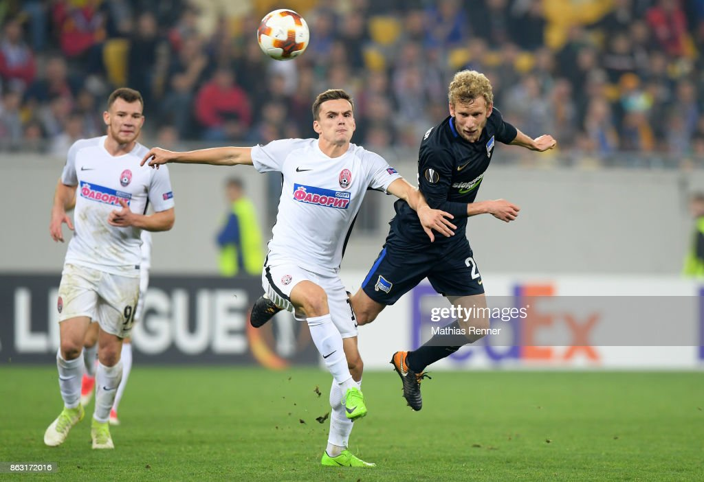 Silas, Oleksandr Andrievsky of FC Zorya Luhansk and Fabian Lustenberger of Hertha BSC during the Europa League group J game between Zorya Luhansk against Hertha BSC on October 19, 2017 in Lwiw, Ukraine.