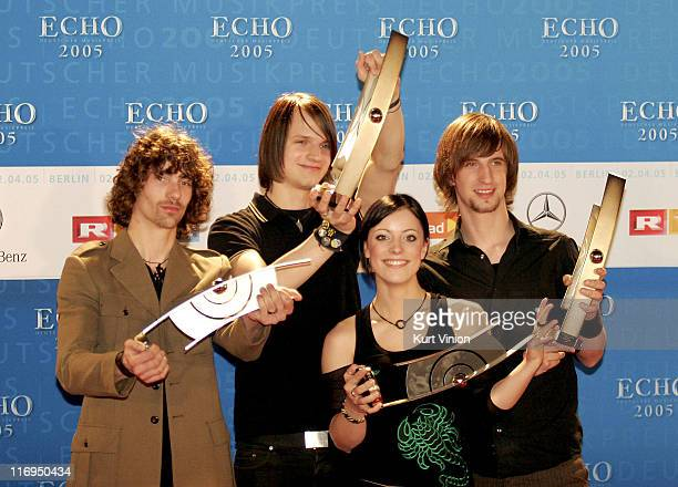 Silbermond during 2005 ECHO German Music Awards Arrivals Press Room at Estel in Berlin Germany