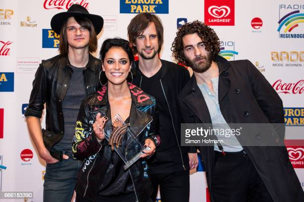 Silbermond pose with their award prior to the Radio Regenbogen Award 2017 at Europapark on April 7 2017 in Rust Germany