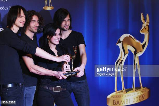MBER 26 Silbermond poses with the Bambi 'Pop National' during the Bambi Awards 2009 Show at the Metropolis Hall at the Filmpark Babelsberg on...