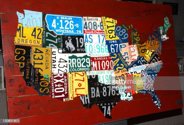 Silent auction art '50 States' by Aaron Foster during Tony Kushner's 'Only We Who Guard The Mystery Shall Be Unhappy' at Ricardo Montalban Theatre in...