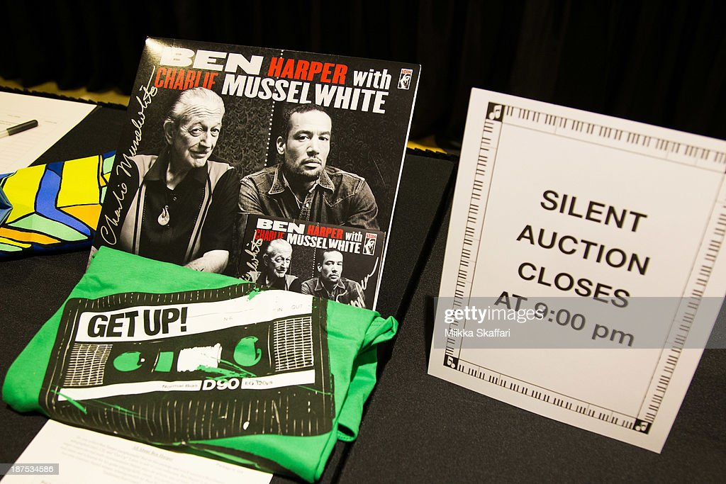 Silent auction at Little Kids Rock fundraiser in Facebook HQ on November 9, 2013 in Menlo Park, California.