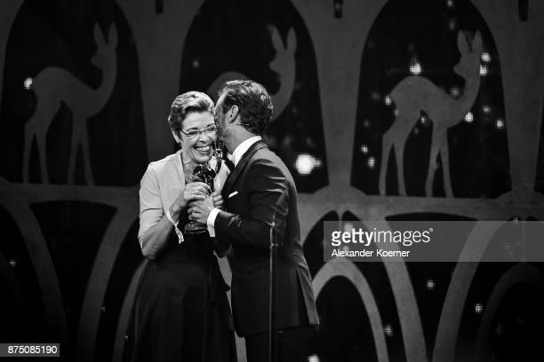 'Silent Heroes' Award Winner Sister Waltraud Hubert on stage with Florian Silbereisen during the Bambi Awards 2017 show at Stage Theater on November...