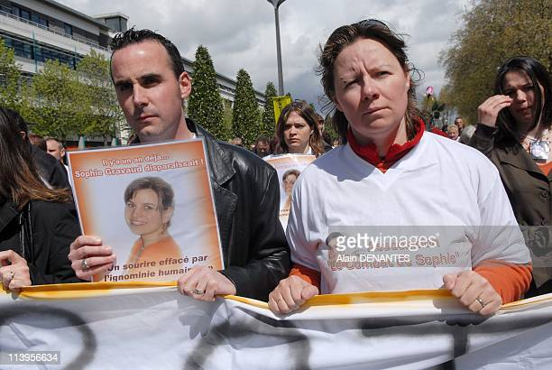 Silent march in tribute to Sophie Gravaud to Nantes one year after the murder of a young woman of 23 yearsold In Nantes France On April 12 2008En...