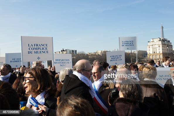 Silent march towards the Elysee Palace in Paris to deliver a petition signed by 18000 people on the first anniversary of the disappearance of...