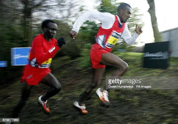 Sileshi Sihine from Ethiopia leads from Eliud Kipchoge to go onto win in the Men's Great North Cross Country Championships at Exhibition Park in...