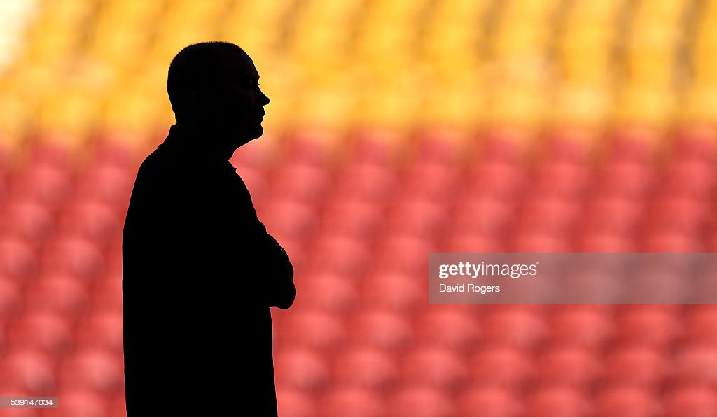 A silhouete of Eddie Jones the England head coach as he looks on duirng the England captain's run held at the Suncop Stadium on June 10 2016 in...