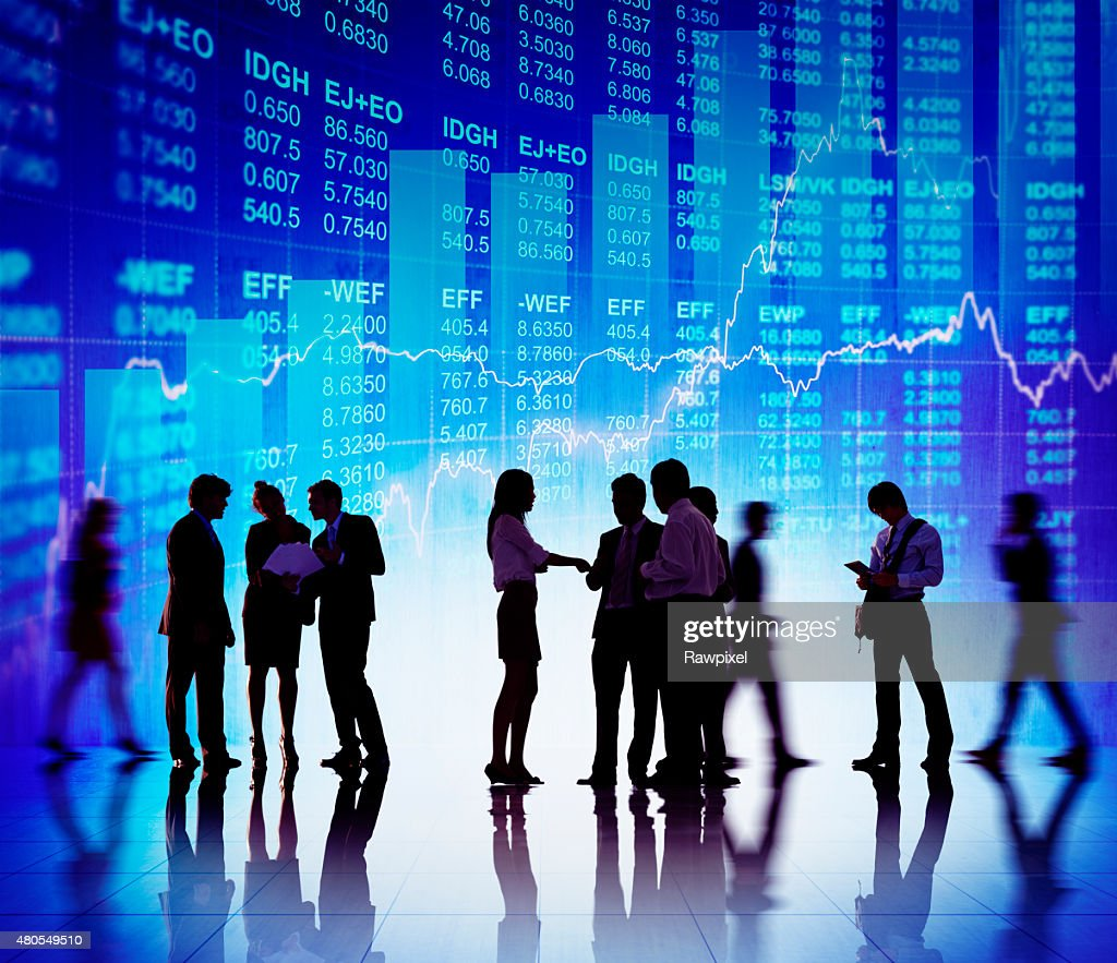 Silhouette Business People Discussion Stock Market Concept : Stock Photo