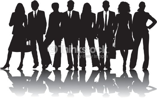 8 silhouette business people in line in black and white