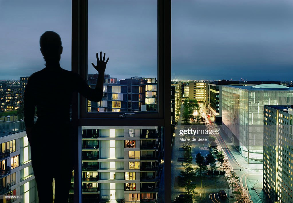 Silhouette by city view : Stock Photo