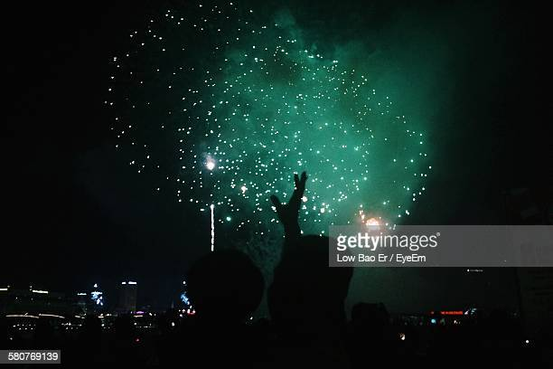 Silhouette Father With Son Pointing Fingers Towards Firework Display At Night