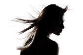 silhouette portrait of a beautiful caucasian girl