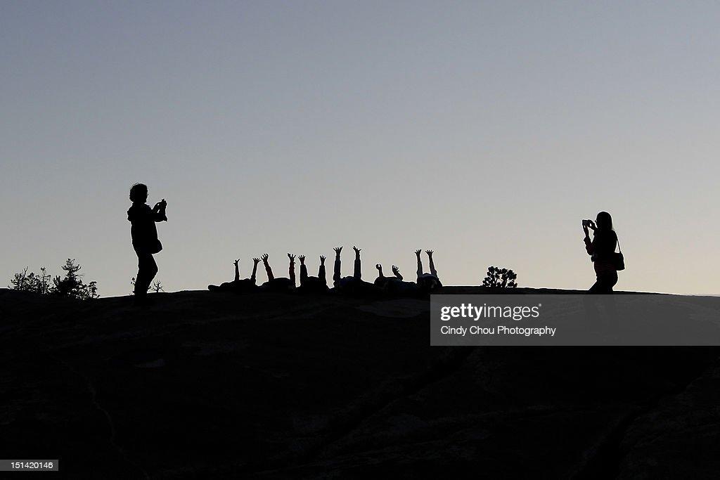 Silhouette hands of children : Stock Photo