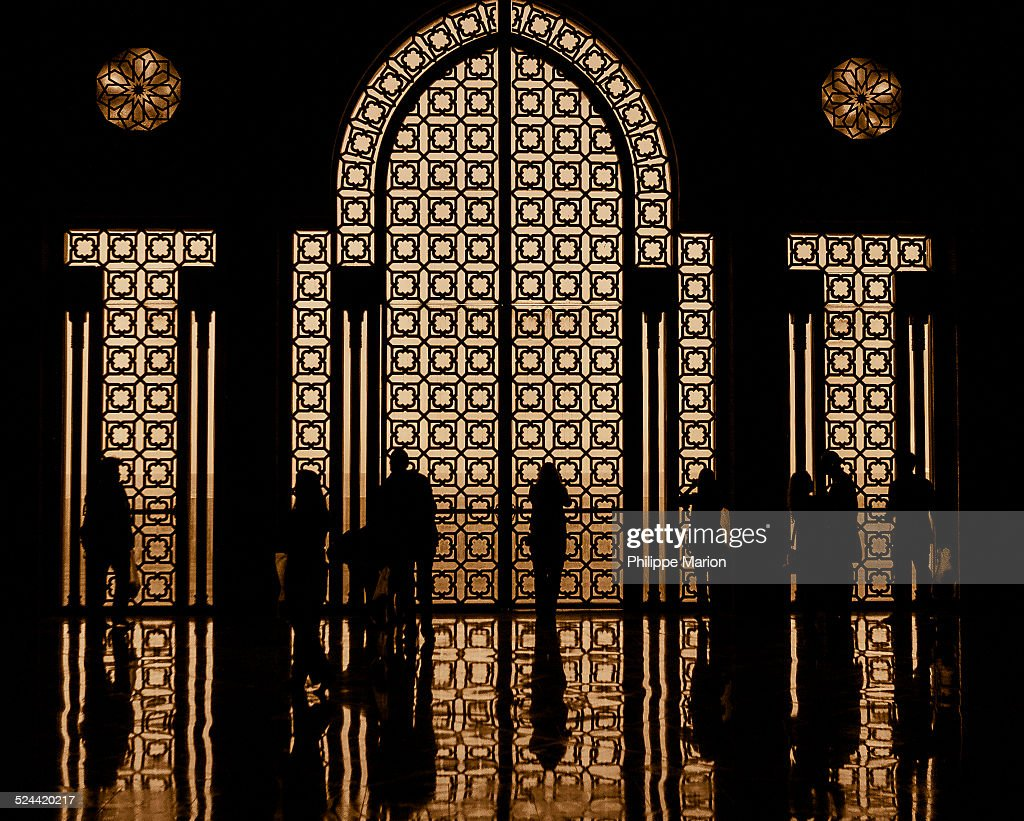 Silhouette inside King Hassan II mosque, Morocco : Stock Photo