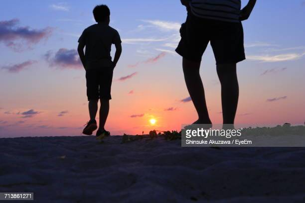Silhouette Men On Beach Against Sky During Sunset