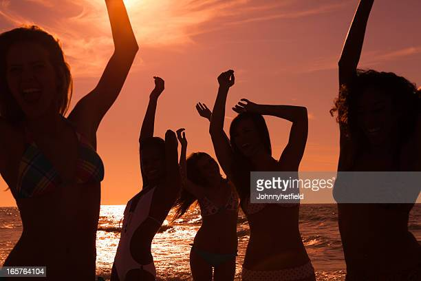 Silhouette of a beach party