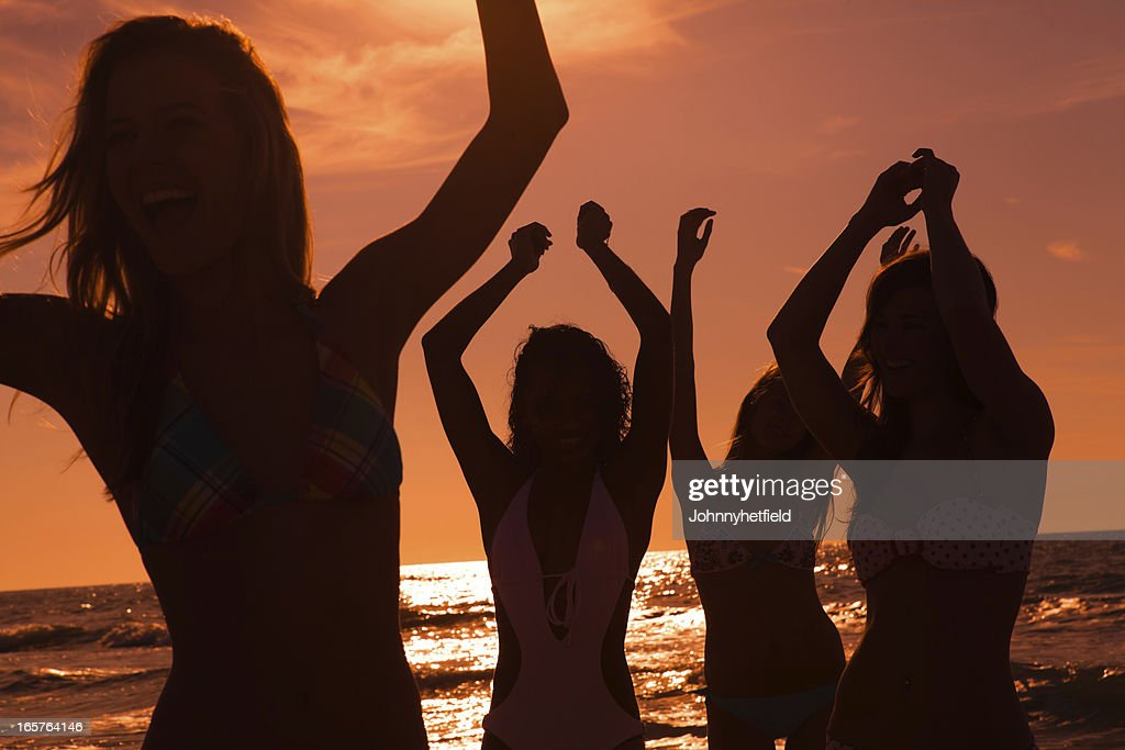 Silhouette of a beach party : Stock Photo