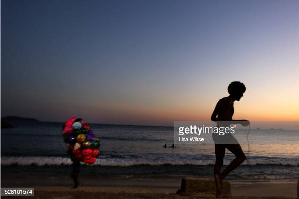 Silhouette of a Brazilian exercising on Ipanema beach at sunset in Rio de Janeiro Brazil July 10 2010 Photo by Lisa Wiltse