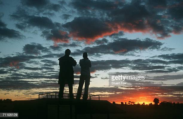 Silhouette of a Couple Admiring the Sunset