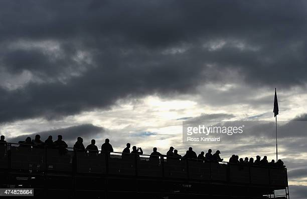 Silhouette of a Grandstand by the 9th green during the ProAm round prior to the Irish Open at Royal County Down Golf Club on May 27 2015 in Newcastle...
