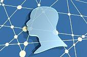Glass material head icon. Scientific medical design. 3D rendering