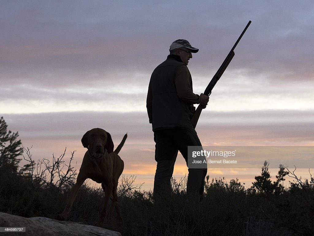 Silhouette of a hunter with shotgun and his dog