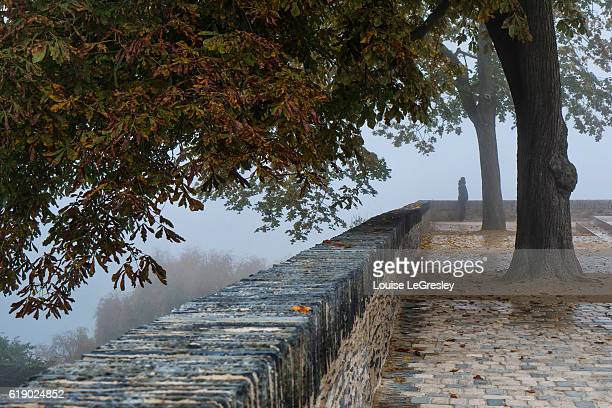 Silhouette of a man standing at the end of a stone wall on a foggy morning