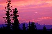 Silhouette of a mountain scene
