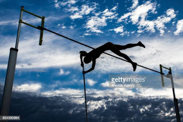 Silhouette of a pole vaulter is seen during round 2 of the Nitro Athletics event at Lakeside Stadium Melbourne Australia February 9 2017 Nitro...