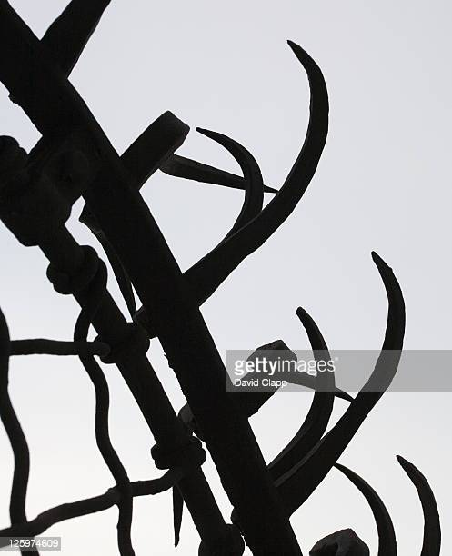 Silhouette of a railing at Casa Batllo roof garden, Barcelona, Spain, Europe