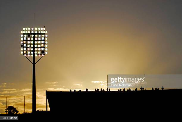 Silhouette of a soccer stadium, Montevideo, Uruguay