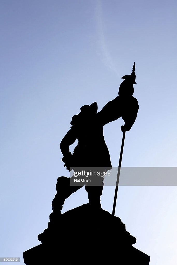 Silhouette of a statue in Montreal Canada. Centre of Place d'Armes is a monument to Montreal's founder, Paul de Chomedey de Maisonneuve.  : Stock Photo