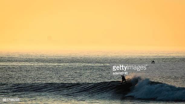 Silhouette of a surfer doing a cutback at sunrise, malibu, california, america, USA