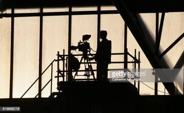A silhouette of a television camera and operator during the UEFA Women's Euro 2017 Group B match between Germany and Sweden at Rat Verlegh Stadion on...