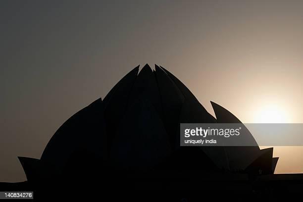 Silhouette of a temple, Lotus Temple, New Delhi, India